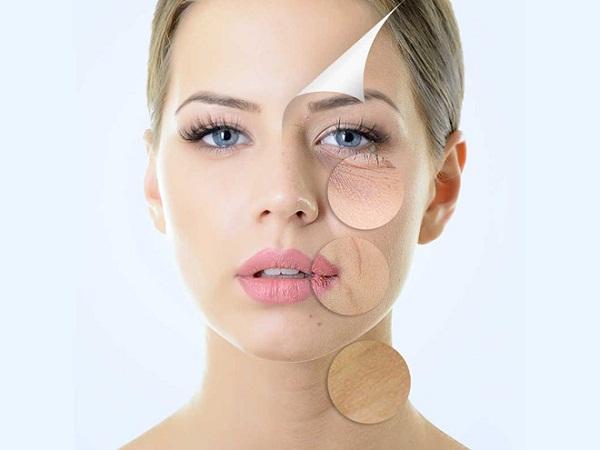 Lão hóa da được biểu hiện qua sự xuất hiện nếp nhăn và da kém tính đàn hồi